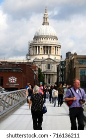 AUGUST 2017 - LONDON: Millennium Bridge, St. Pauls Cathedral, London, England.