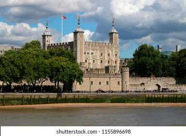 AUGUST 2017 - LONDON: Tower of London, River Thames, London, England.