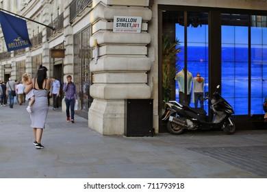 August, 2017, London, United Kingdom. Crossroads Regent Street and Swallow Street, Mayfair, London W1