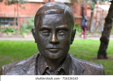 AUGUST 2017 - MANCHESTER: the statue/ bust of Alan Turing, Manchester, England.