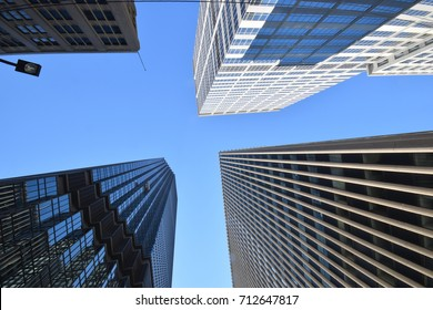 August 2017 - Minneapolis, MN:Skyscrapers perspective photograph looking up from ground level in Minneapolis, MN in August 2017