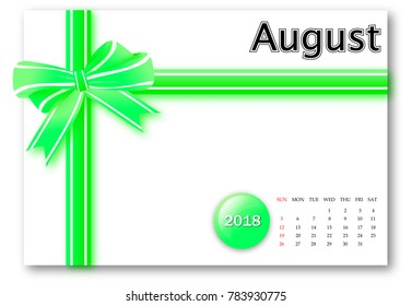 August 2018 - Calendar series with gift ribbon design