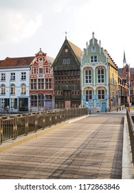 August 2018 - Mechelen, Belgium: 16th and 17th century houses Het paradijske, Sint)Jozef and De duiveltjes at the old Haverwerf in the city center of Mechelen, Belgium.