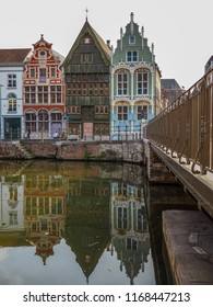 August 2018 - Mechelen, Belgium: Historical houses at the Haverwerf in the city center of Mechelen, Belgium. The haverwerf was used for trading oats.