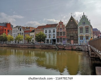August 2018 - Mechelen, Belgium: Historical houses at the Haverwerf in the city center of Mechelen. The haverwerf was used for trading oats.