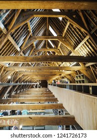 August 2018 - Mechelen, Belgium: The traditional wooden roof of the top floor of the Predikherenklooster which will become the new city library