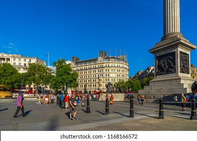 AUGUST 2018: The National Gallery, Trafalgar Square in London, UK.