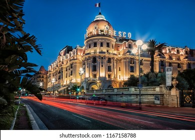 August 2018 - Nice, France - Le Negresco hotel in Nice city on the French Riviera