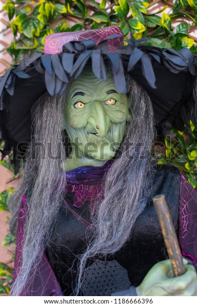 August 2018, Russia, Rostov-on-don. Baba Yaga's dummy. Negative character in the Russian folklore