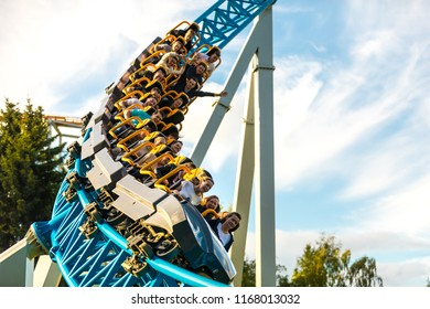 August 2018, Saint Petersburg, Russia. Divo Ostrov amusement park. Roller coaster ride