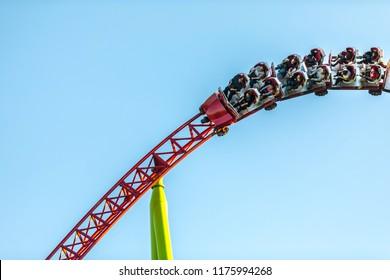 August 2018, Saint Petersburg, Russia. Divo Ostrov amusement park. Roller coaster ride