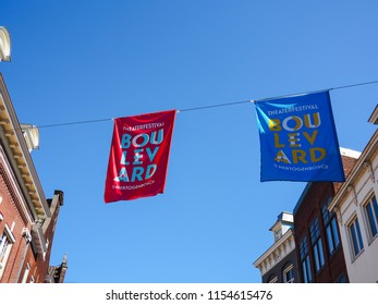 August 2018 - 's-Hertogenbosch, Netherlands: Flags promoting the yearly Boulevard street theater festival in the city center
