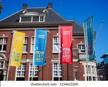 August 2018 - 's-Hertogenbosch, Netherlands: Large banners advertising for the yearly street theater festival Boulevard