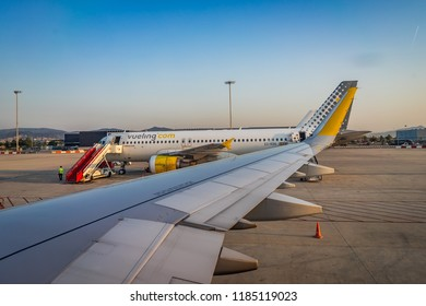 AUGUST 2018: Vueling airplane model Airbus A320 in Barcelona airport.