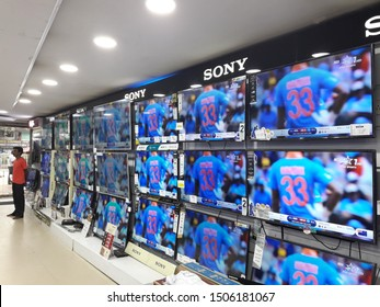 August 2019, Mumbai, India: LET - LCD TV displayed in a super market for sale. People looking for their best choice. Indian electronic market.