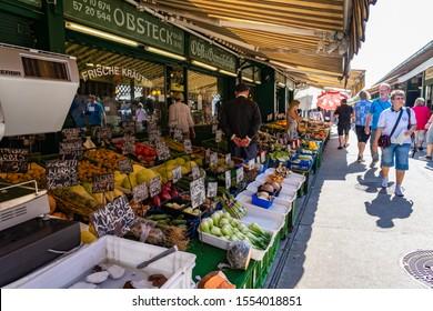 AUGUST 2019: Naschmarkt Market in Vienna Wien, Austria.
