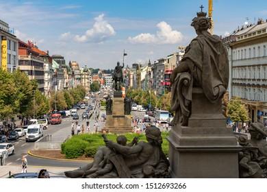 AUGUST 2019: Wenceslas Square Prague in Czech Republic.