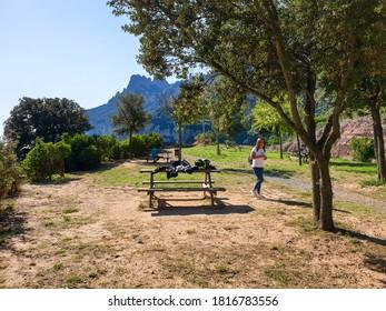 AUGUST 2020: View of Montserrat mountain in Barcelona, Catalonia, Spain