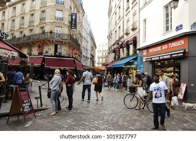 August 21, 2016, Paris, France - restaurant and typical street