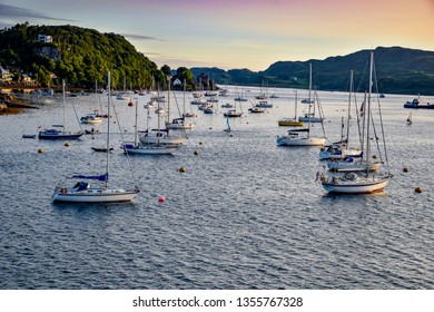 August 21, 2018. The city of Oban (Scotland). Yachts and boats in the Gulf of Oban. View from McCaig's Tower.