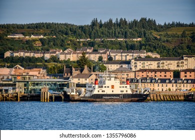 August 21, 2018. The city of Oban (Scotland). Old houses on the promenade of Oban Bay.