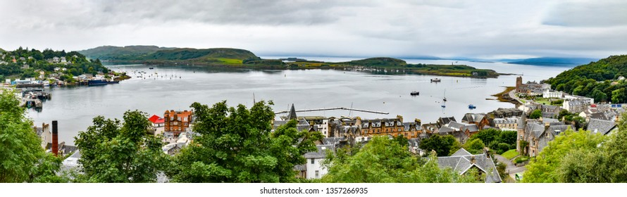 August 21, 2018. The city of Oban (Scotland). View of Oban Bay from McCaig's Tower.