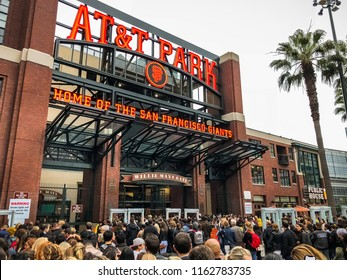 August 21, 2018 San Francisco / CA / USA - Crowds of people waiting to go inside AT&T Park for the Ed Sheeran concert