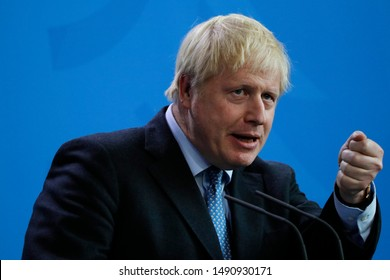 AUGUST 21, 2019 - BERLIN: British Primne Minister Boris Johnson at a press conference before a meeting with the German Chancellor, Chanclery.