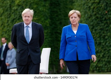 AUGUST 21, 2019 - BERLIN: British Prime Minister Boris Johnson, German Chancellor Angela Merkel, Chanclery.