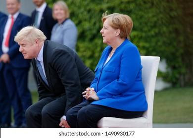 AUGUST 21, 2019 - BERLIN: British Prime Minister Boris Johnson, German Chancellor Angela Merkel, Chanclery.