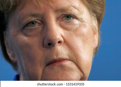 AUGUST 21, 2019 - BERLIN: German Chancellor Angela Merkel at a press conference after a meeting with the British Prime ministe, Chanclery.