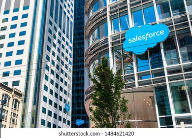 August 21, 2019 San Francisco / CA / USA - Salesforce logo displayed on the facade of Salesforce tower, the new corporate headquarters; Salesforce East and West towers visible in the background