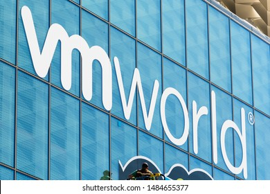 August 21, 2019 San Francisco / CA / USA - Close up of VMworld sign displayed on the Moscone Center facade; VMworld is a global conference for virtualization and cloud computing, hosted by VMware.