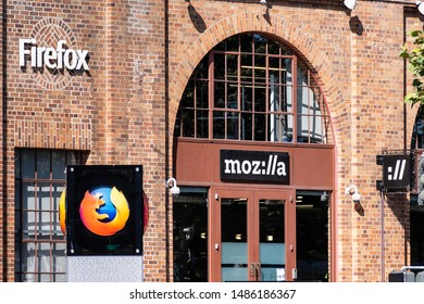August 21, 2019 San Francisco / CA / USA - Mozilla office building, displaying the Firefox logo and symbol and the stylized company name ( moz://a ); Mozilla is a free software community