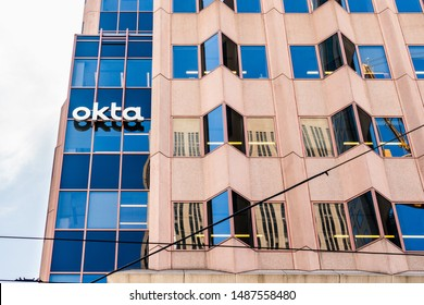 August 21, 2019 San Francisco / CA / USA - OKTA headquarters in SOMA district; Okta, Inc. is an American identity and access management company