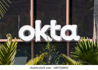 August 21, 2019 San Francisco / CA / USA - Close up of OKTA logo at their headquarters in SOMA district; Okta, Inc. is an American identity and access management company
