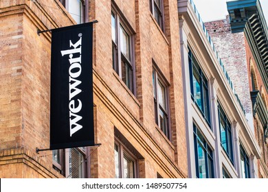 August 21, 2019 San Francisco / CA / USA - WeWork office building located in SOMA district; WeWork is an American company that provides shared work spaces