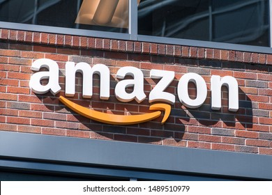 August 21, 2019 San Francisco / CA / USA - Close up of Amazon logo on the facade of one of their office buildings located in SOMA district, downtown San Francisco