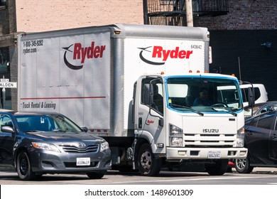 August 21, 2019 San Francisco / CA / USA - Ryder truck driving in downtown San Francisco; Ryder System, Inc. is an American provider of transportation and supply chain management products