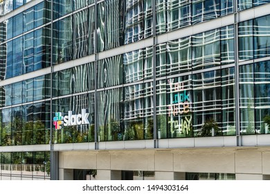 August 21, 2019 San Francisco / USA - Slack Technologies, Inc. headquarters in SOMA district; Slack (its main product) is a cloud-based set of collaboration software tools and online services