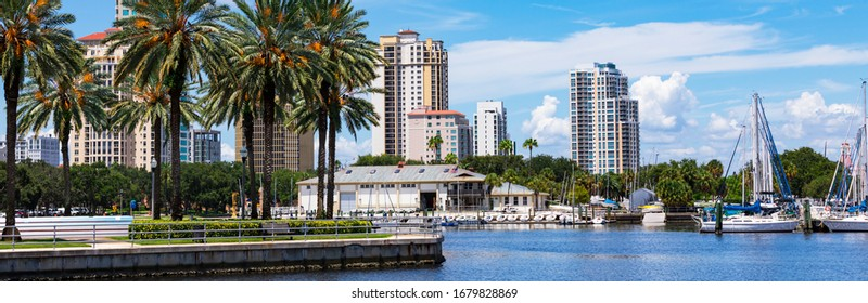 August 21. 2019. View of the Tampa Bay Waterfront in Downtown St. Petersburg, Florida, USA. Panoramic image.