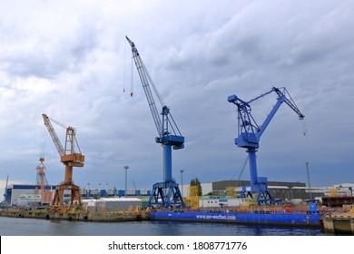 August 21 2020 - Rostock-Warnemünde, Mecklenburg-Vorpommern/Germany: Details of industry port and dockside cranes at the europort harbour in Rostock