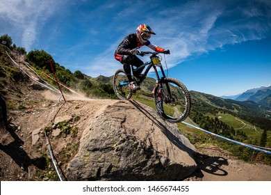 AUGUST 22, 2014 - MERIBEL, FRANCE. Loic Bruni racing at the UCI Mountain Bike Downhill World Cup