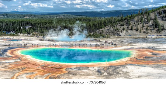 August 22, 2017 - Grand Prismatic Spring located in Yellowstone National Park