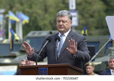 August 22, 2017. Kyiv, Ukraine. Petro Poroshenko, the President of Ukraine, making a speech at Day of the National Flag of Ukraine.