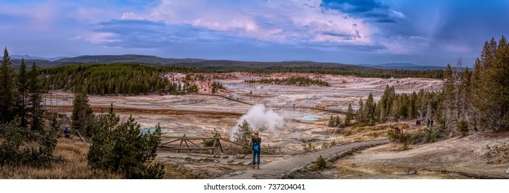 August 22, 2017 - Norris Geyser Basin located in Yellowstone National Park