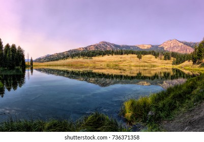 August 22, 2017 - Panorama of Trout Lake located in Yellowstone National Park