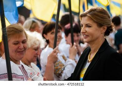 August 23, 2016. Kyiv, Ukraine. Preparations for raising the national flag of Ukraine ceremony to celebrate the Day of the National Flag of Ukraine.