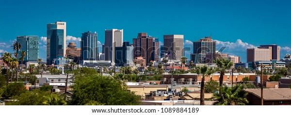 AUGUST 23, 2017 - PHOENIX ARIZONA - Panoramic skyline view of Phoenix downtown