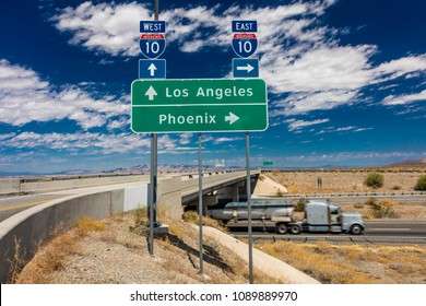 AUGUST 23, 2017 -Semi Truck with fuel drives on Interstate 10 from Los Angeles, California to Phoenix Arizona